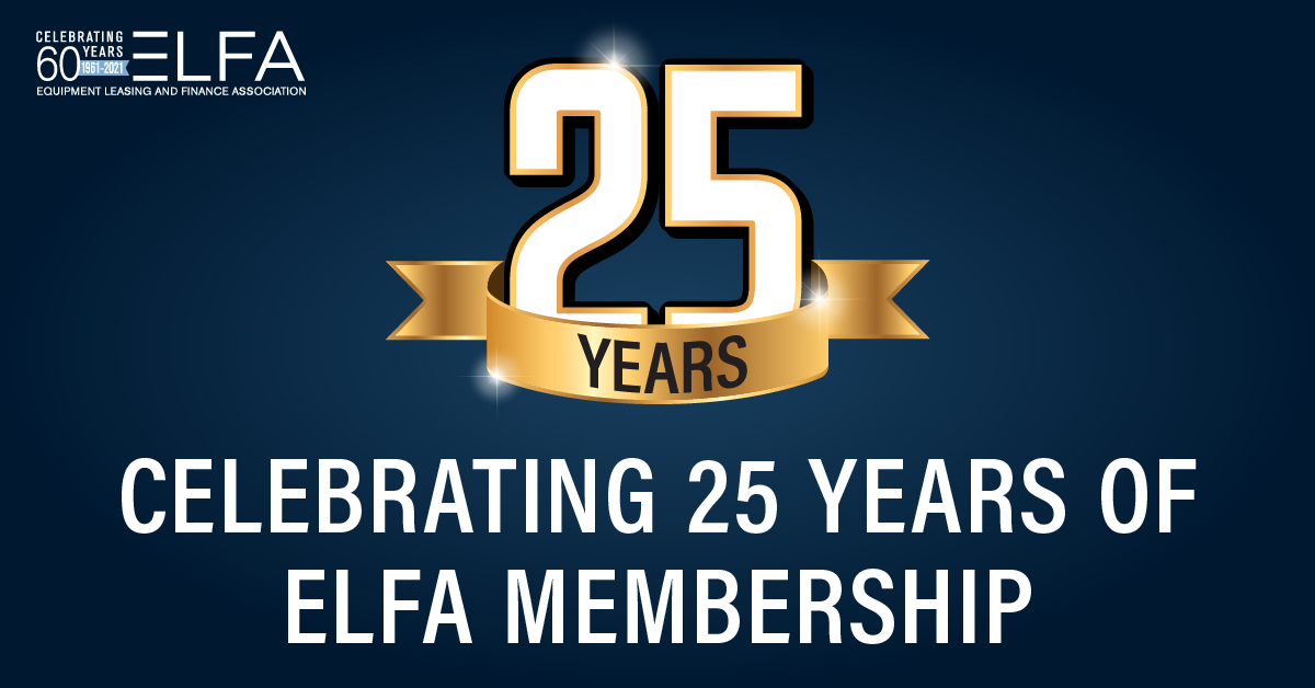 Cohn & Dussi Recognized for 25 Years of Membership in the Equipment Leasing and Finance Association